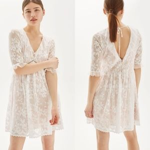Topshop Pleat Lace Trim Flippy Dress